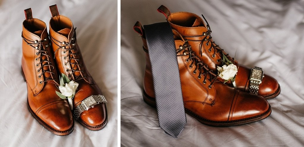 Groom's Details Shoes Tie Watch Boutonniere Getting Ready