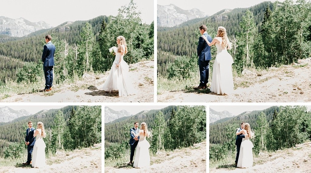 San Sophia Overlook Telluride Mountain Wedding First Look Outdoor Wedding Photography