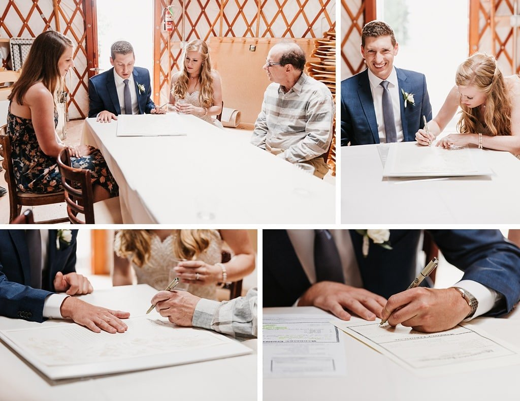San Sophia Overlook Telluride Mountain Wedding Photography Signing the Ketubah Jewish Traditional Wedding