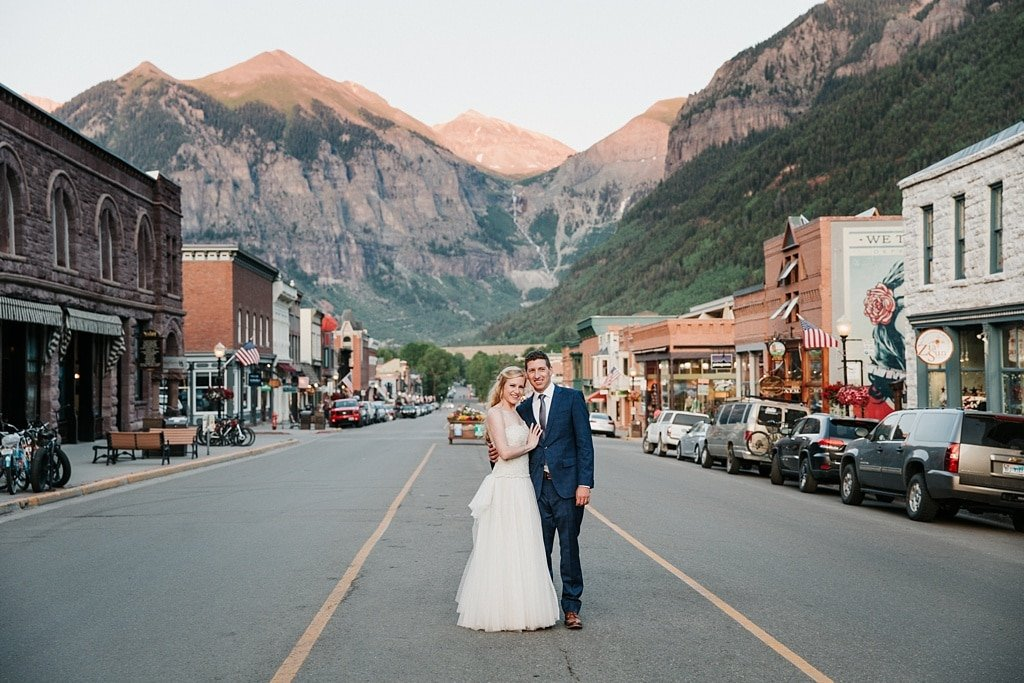 Telluride Mountain Wedding at Colorado Avenue Downtown Telluride Mountain Views