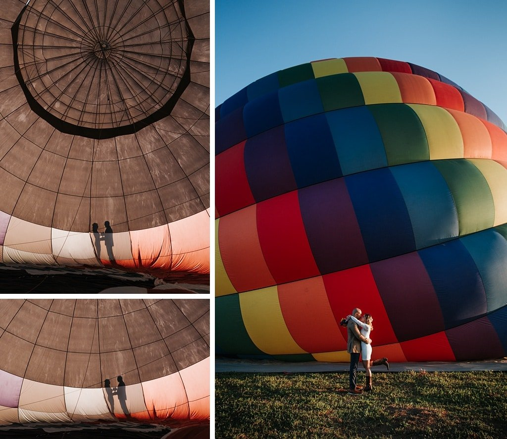 Colorado hot air balloon elopement wedding photography silhouette