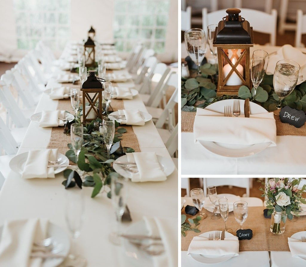Rustic burlap tablescape with lanterns at Stone Mountain Lodge wedding