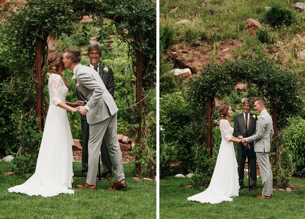 Stone Mountain Lodge Wedding in Lyons Colorado outdoor ceremony green arch