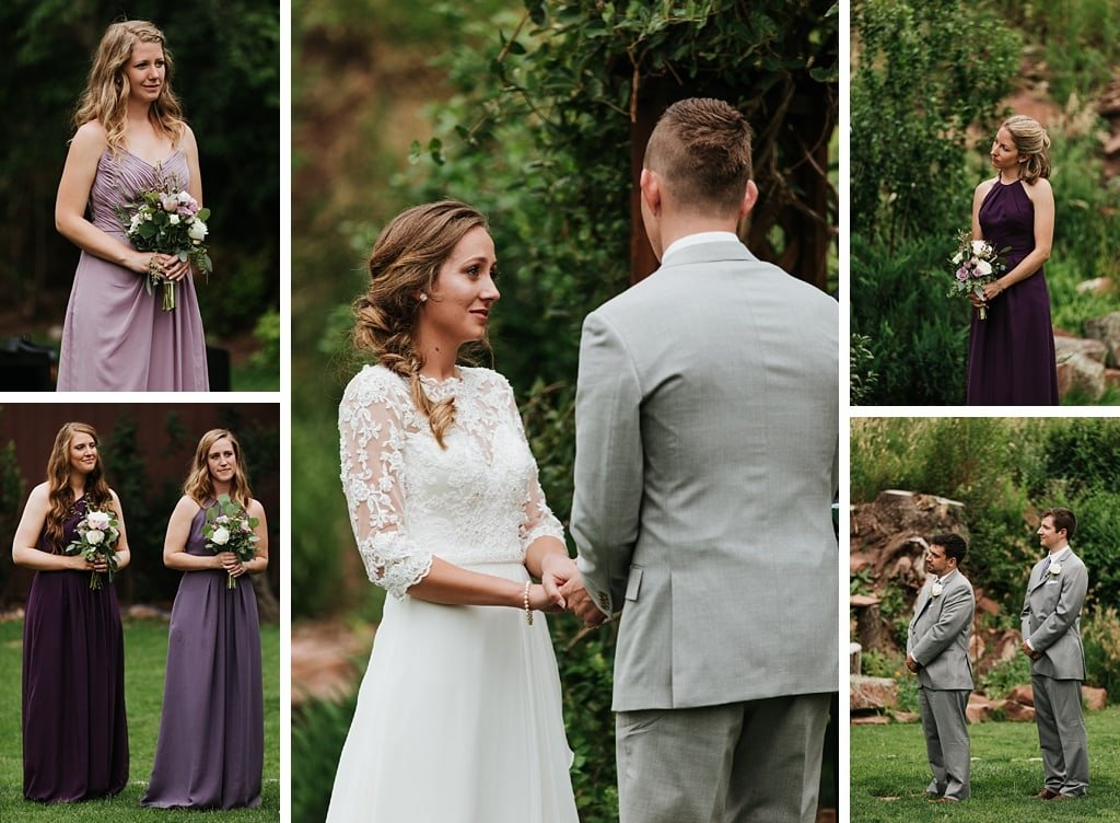 Stone Mountain Lodge Wedding ceremony in Lyons Colorado outdoor ceremony greenery lush arch