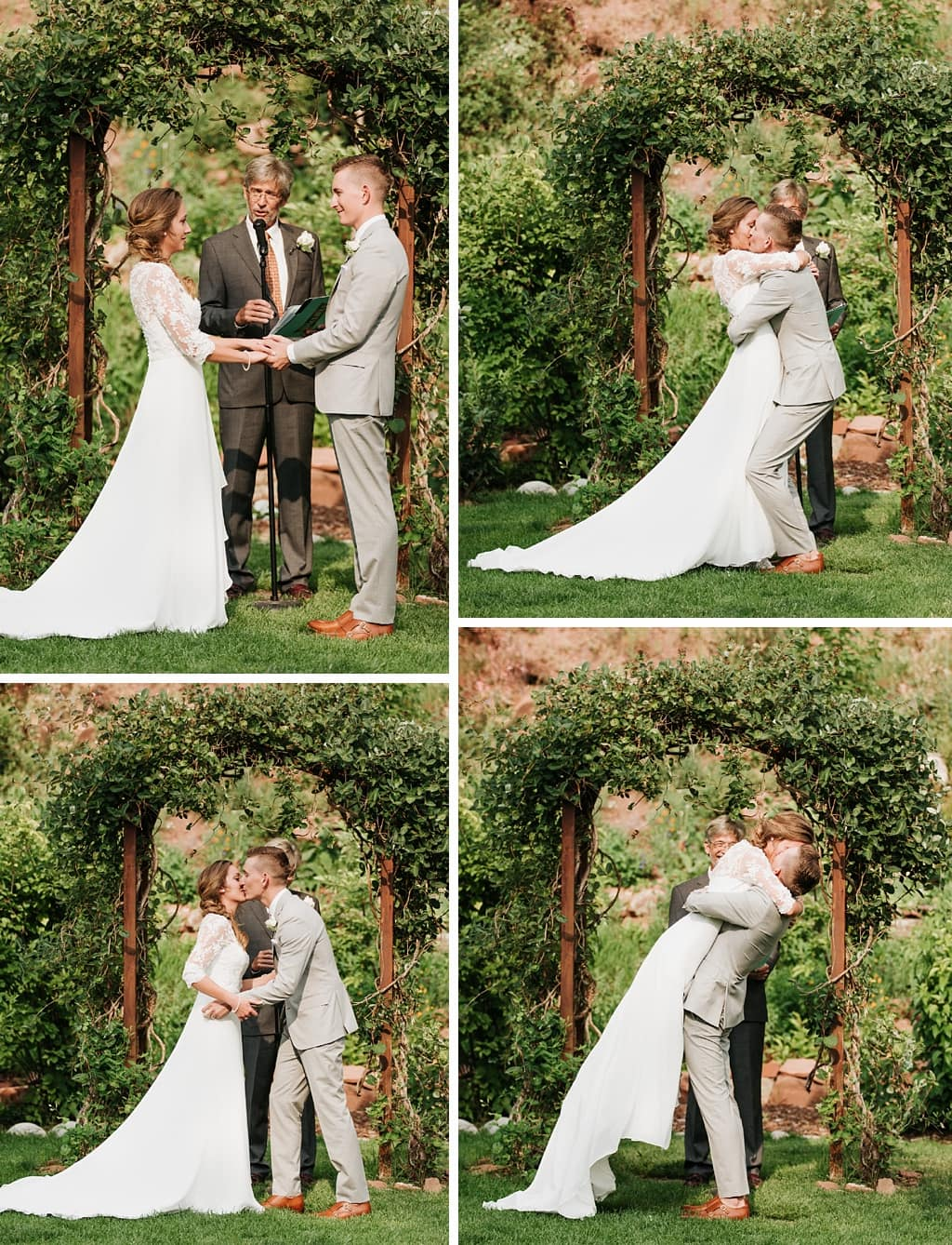 Stone Mountain Lodge Wedding ceremony in Lyons Colorado first kiss groom lifting bride