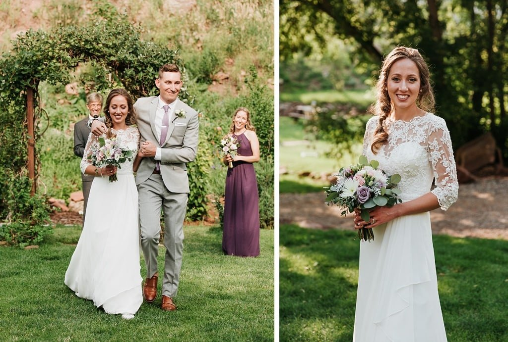 Stone Mountain Lodge Wedding in Lyons Colorado bride and groom walking down aisle together after ceremony, bridal portrait with backlighting