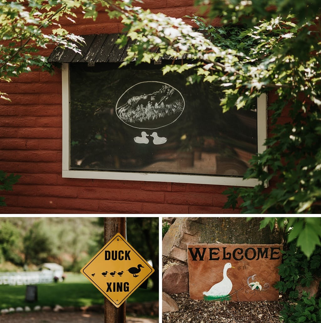 Duck themed signs at Stone Mountain Lodge in Lyons