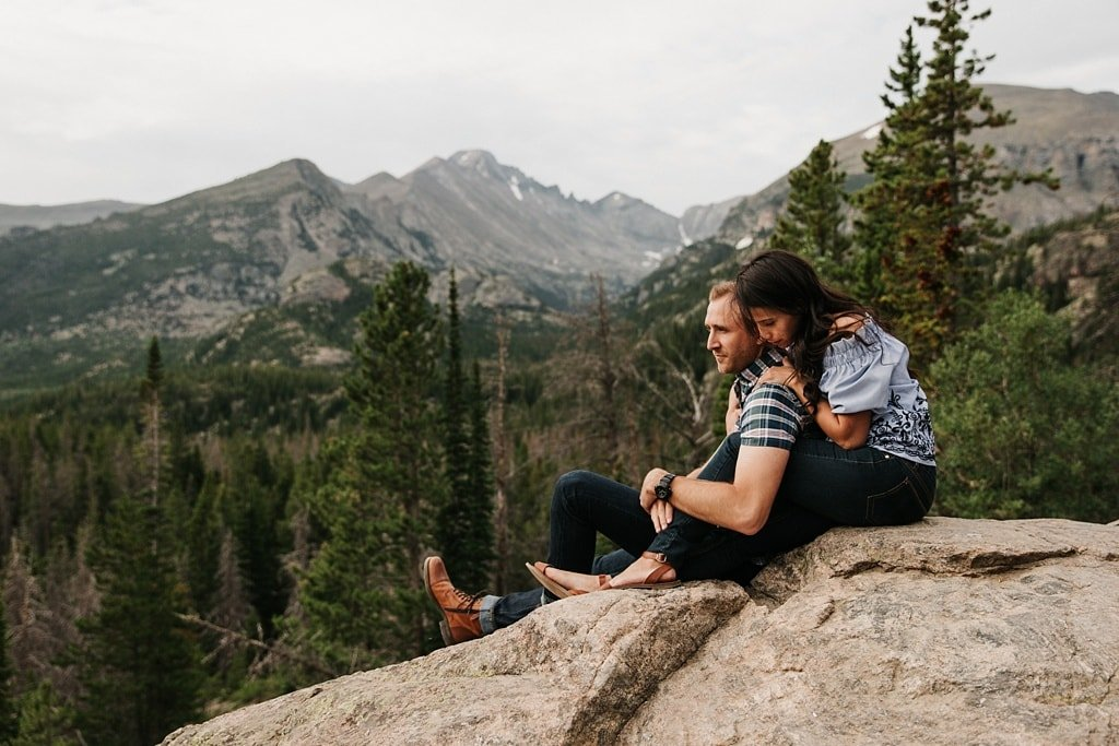 Scenic Rocky Mountain National Park Sunrise Hiking Engagement Photography