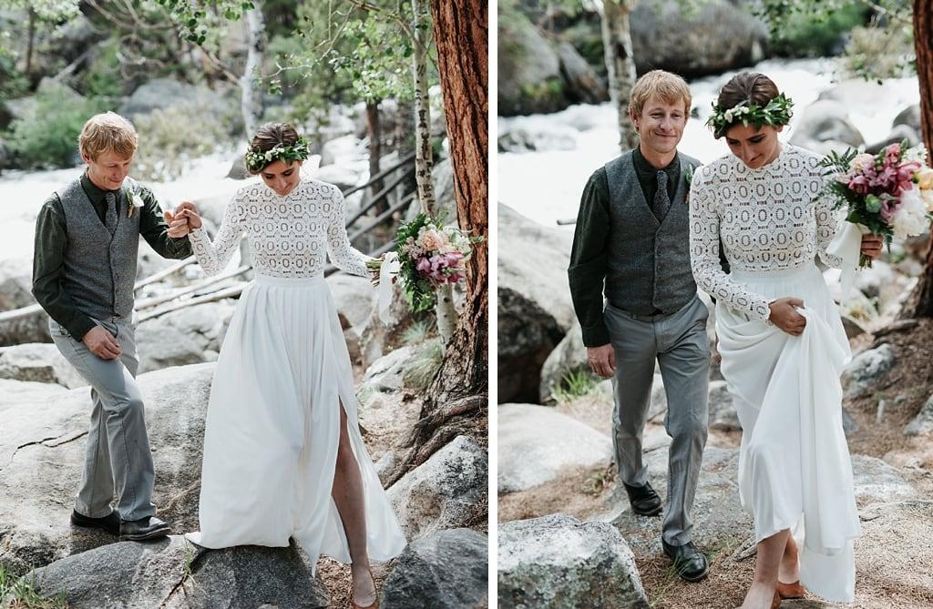 Bride and groom wedding photos in Estes Park