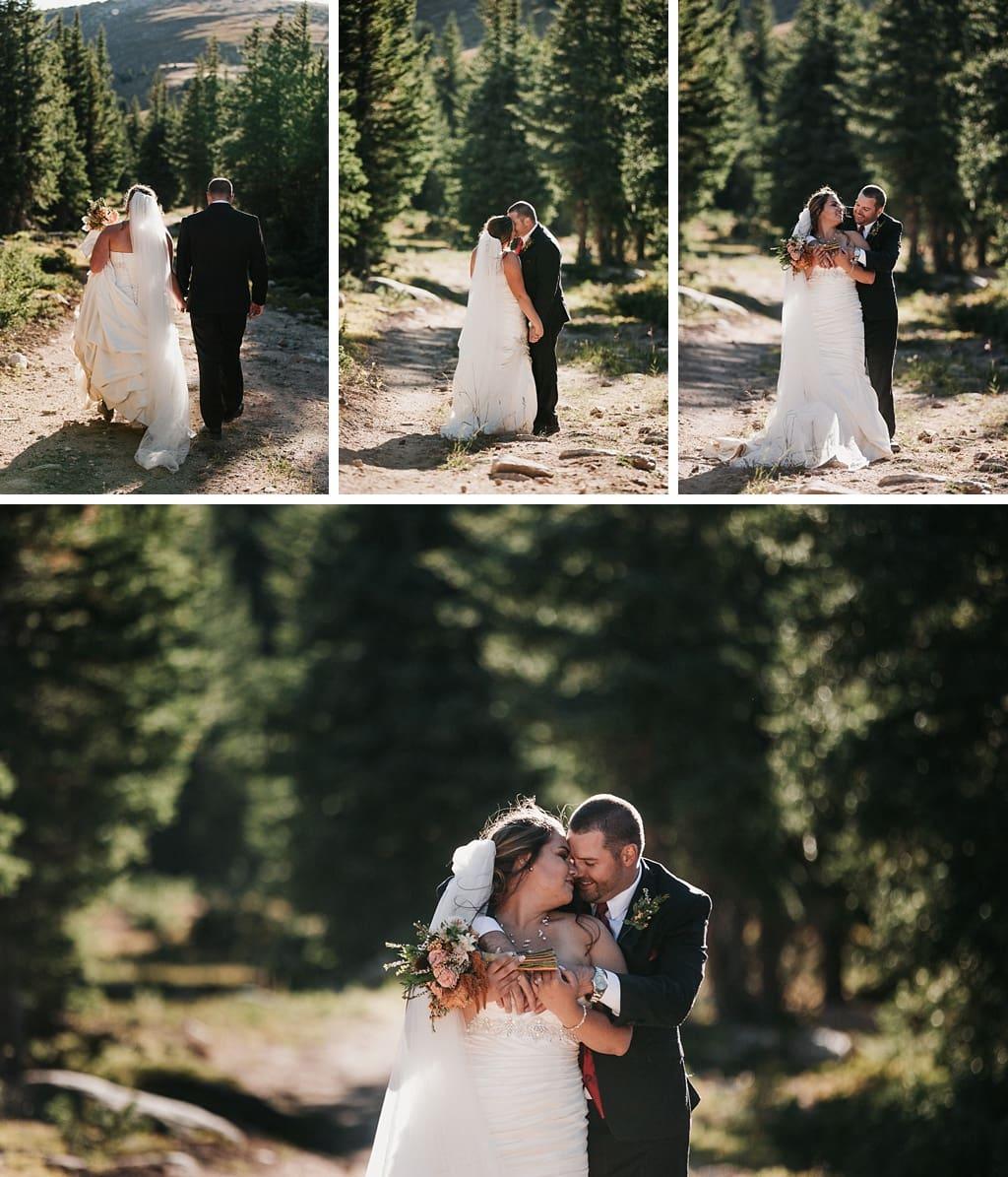 Lunch Rock Winter Park Resort Wedding Colorado Bride and groom portraits in trees