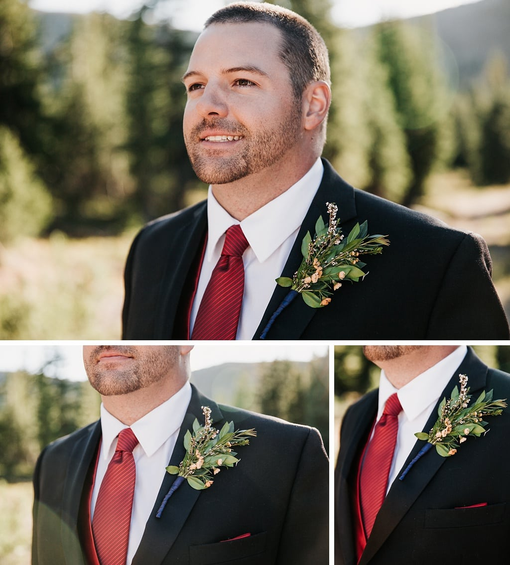 Lunch Rock Winter Park Resort Wedding Colorado Groom Portraits red tie boutonniere by Elle Design Florals