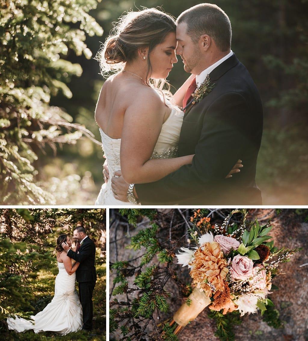 Lunch Rock Winter Park Resort Wedding Colorado Bride and groom portraits in trees, bouquet by Elle Design Florals