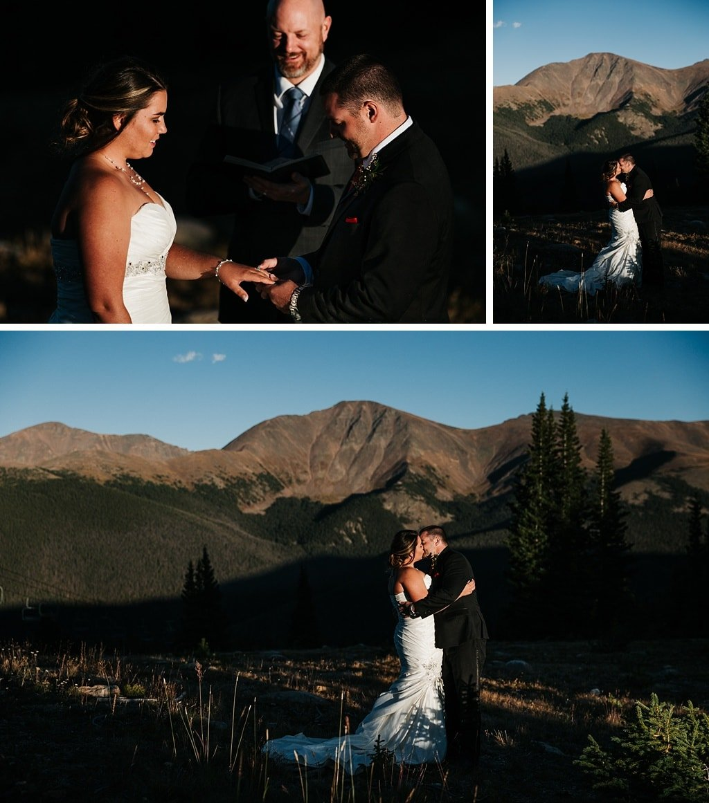 Lunch Rock Winter Park Resort Wedding Colorado Outdoor Mountain Elopement Ceremony ring exchange and first kiss