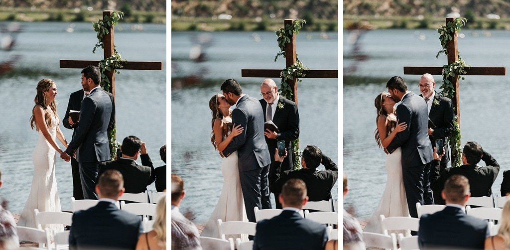 Evergreen Lake House Brunch Wedding Colorado outdoor ceremony lakeside mountain views first kiss