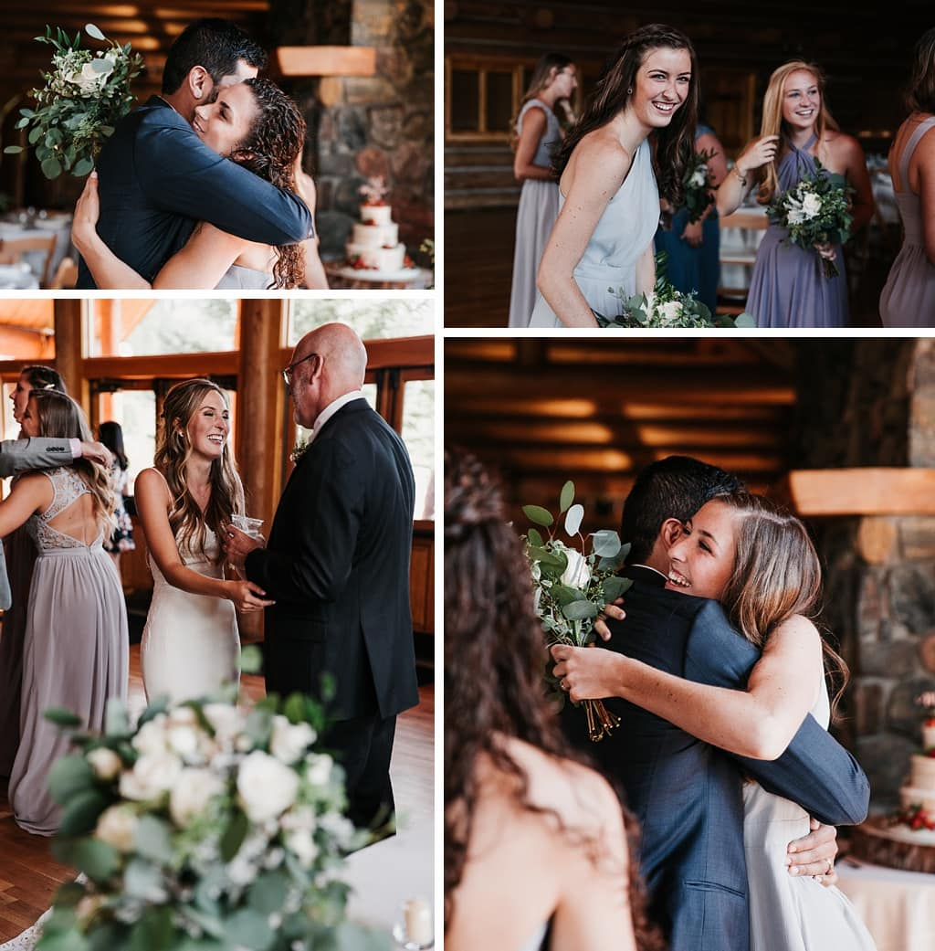 Evergreen Lake House Brunch Wedding Colorado bride and groom celebrating with bridal party after ceremony