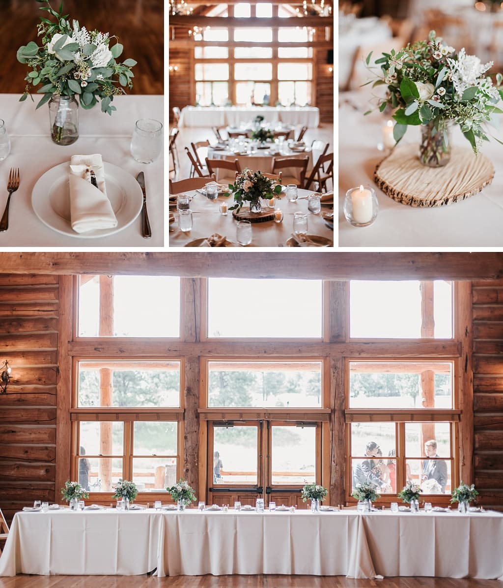 Evergreen Lake House Brunch Wedding Colorado log cabin house reception with exposed wood, green and white florals