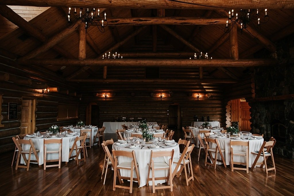 Evergreen Lake House Brunch Wedding Colorado log cabin reception with bright linens and green and white florals