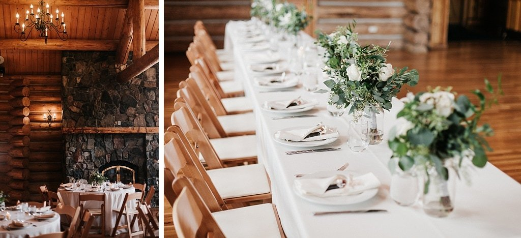 Evergreen Lake House Brunch Wedding Colorado log house cabin reception decor
