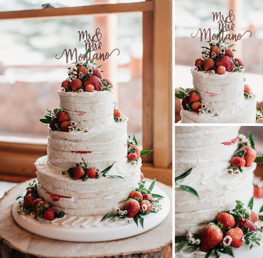 Evergreen Lake House Brunch Wedding Colorado nearly naked wedding cake with strawberries and greenery