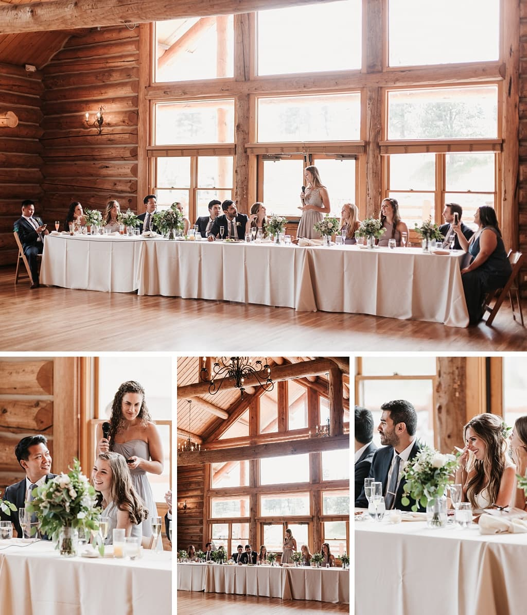 Evergreen Lake House Brunch Wedding Colorado bridal party head table toasts speeches bride crying