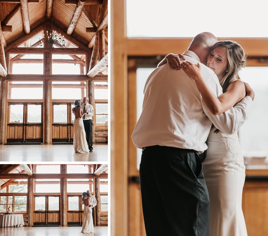 Evergreen Lake House Brunch Wedding Colorado bride first dance with father log cabin reception