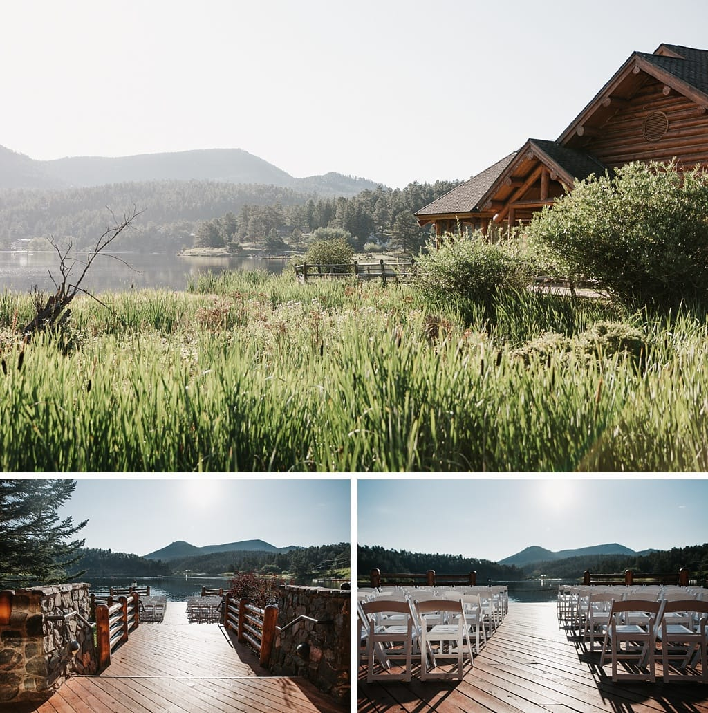 Evergreen Lake House Brunch Wedding Colorado Venue Ceremony Site overlooking lake water
