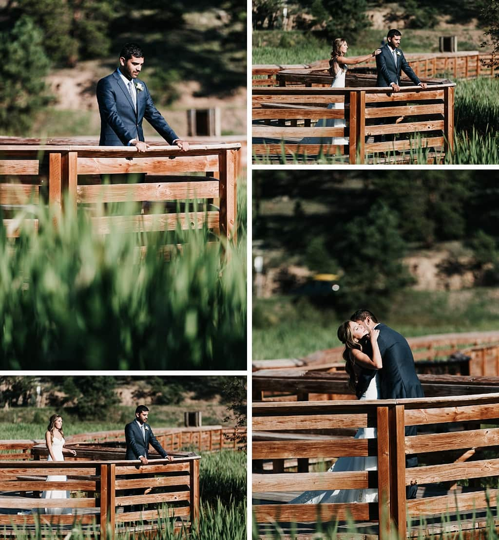 Evergreen Lake House Brunch Wedding Colorado First look photography bride and groom