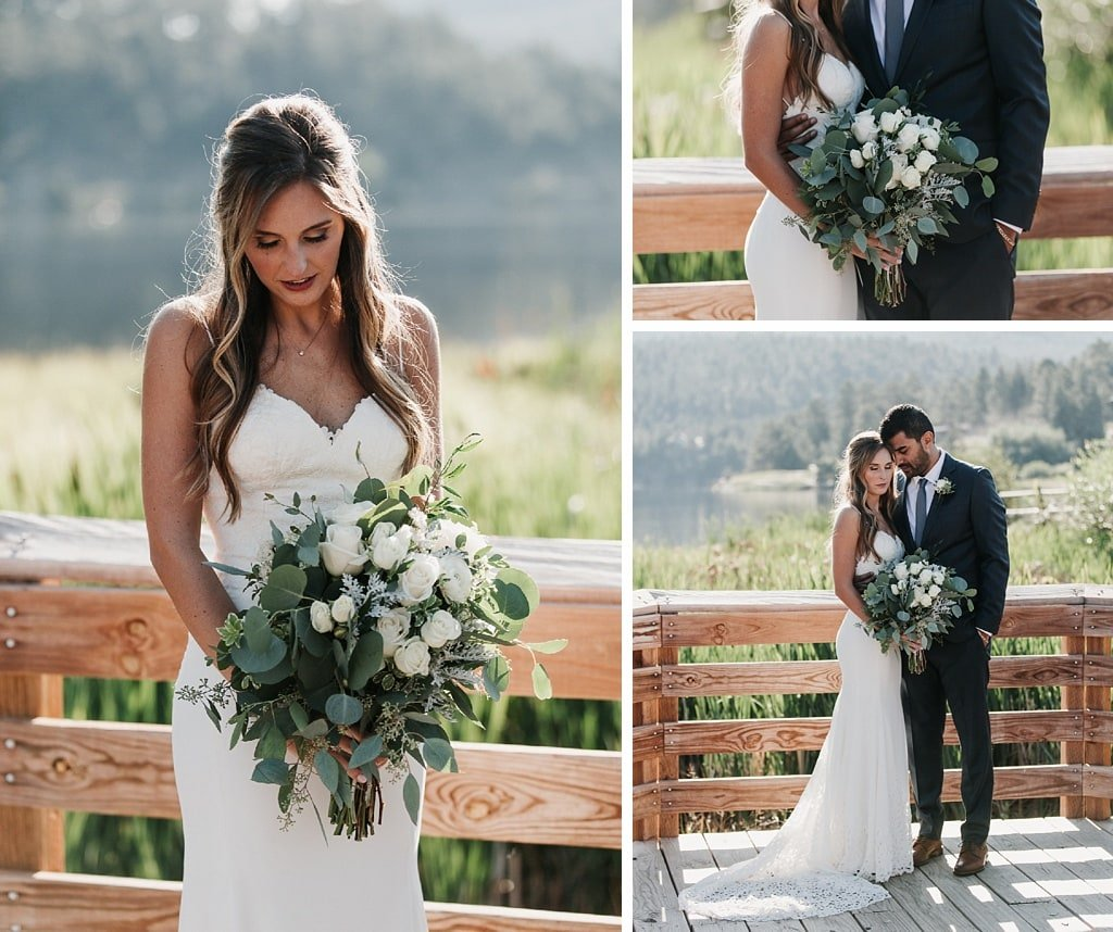 Evergreen Lake House Brunch Wedding Colorado First Look bride and groom portraits bridal bouquet with eucalyptus and white roses