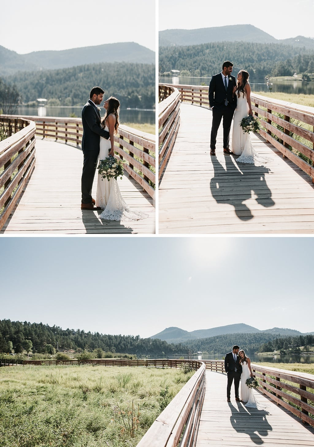 Evergreen Lake House Brunch Wedding Colorado bride and groom portraits on boardwalk mountain views