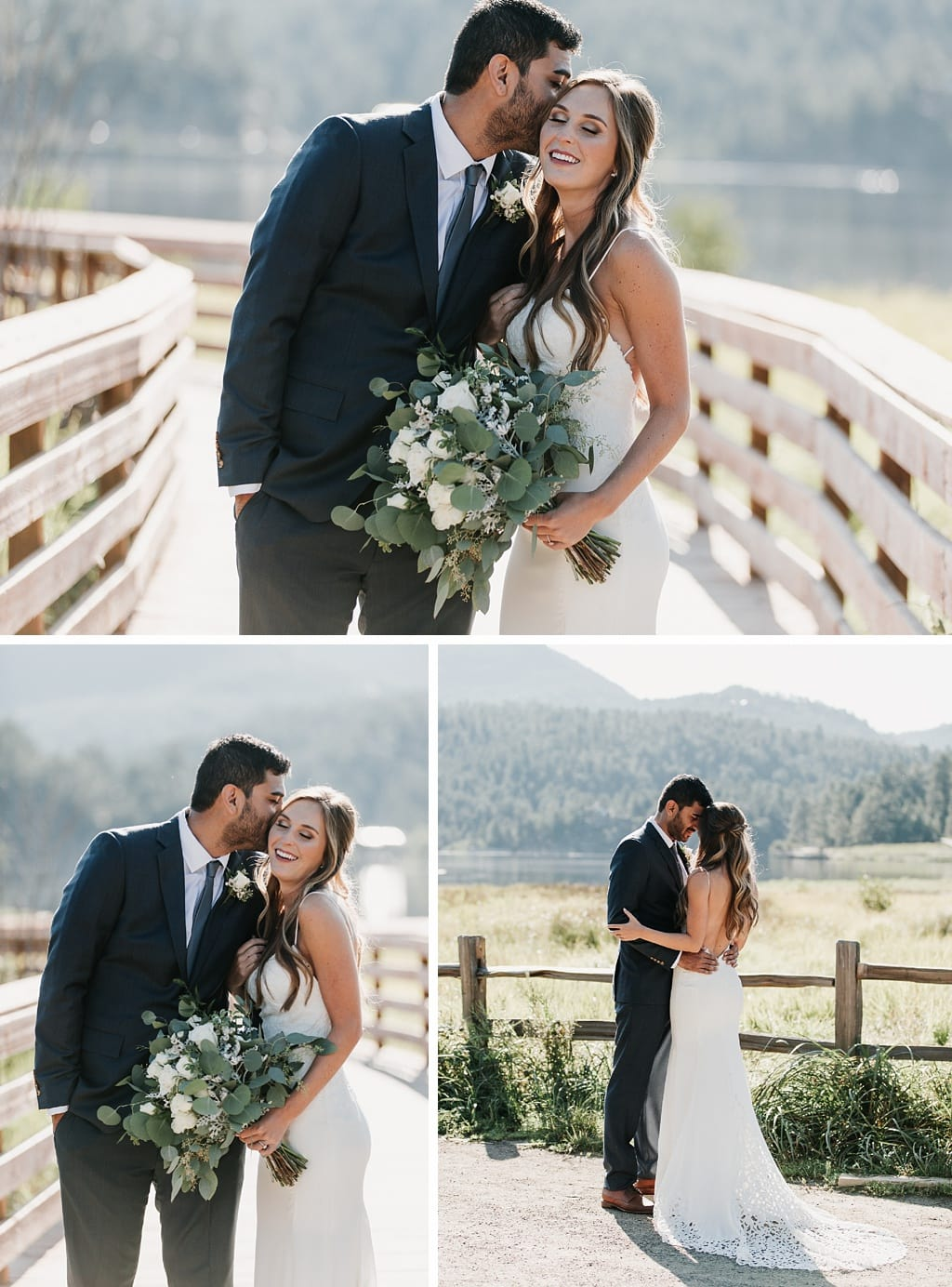 Evergreen Lake House Brunch Wedding Colorado bride and groom portraits morning sunshine