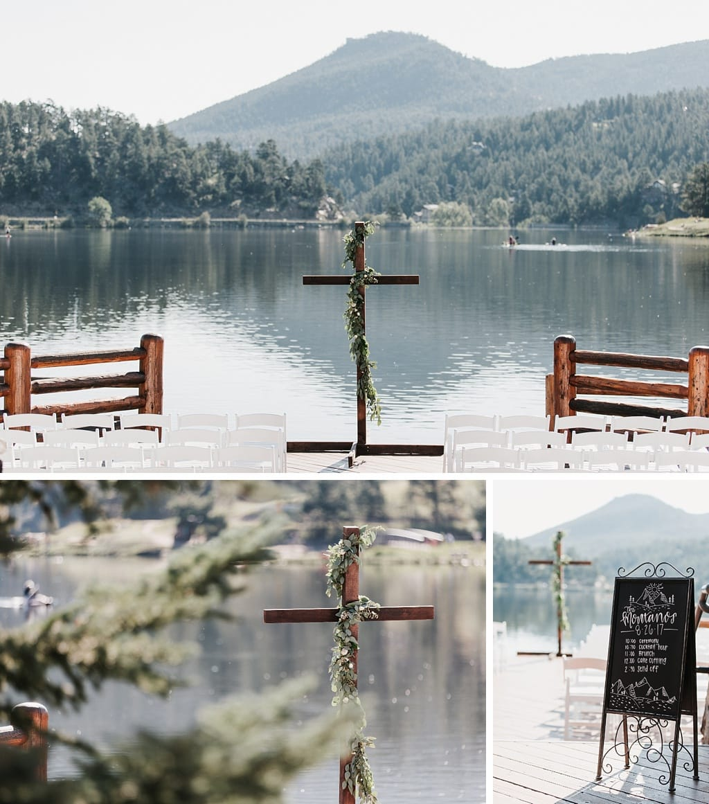Evergreen Lake House Brunch Wedding Colorado outdoor lakeside ceremony site with mountain views, cross decorated with greenery