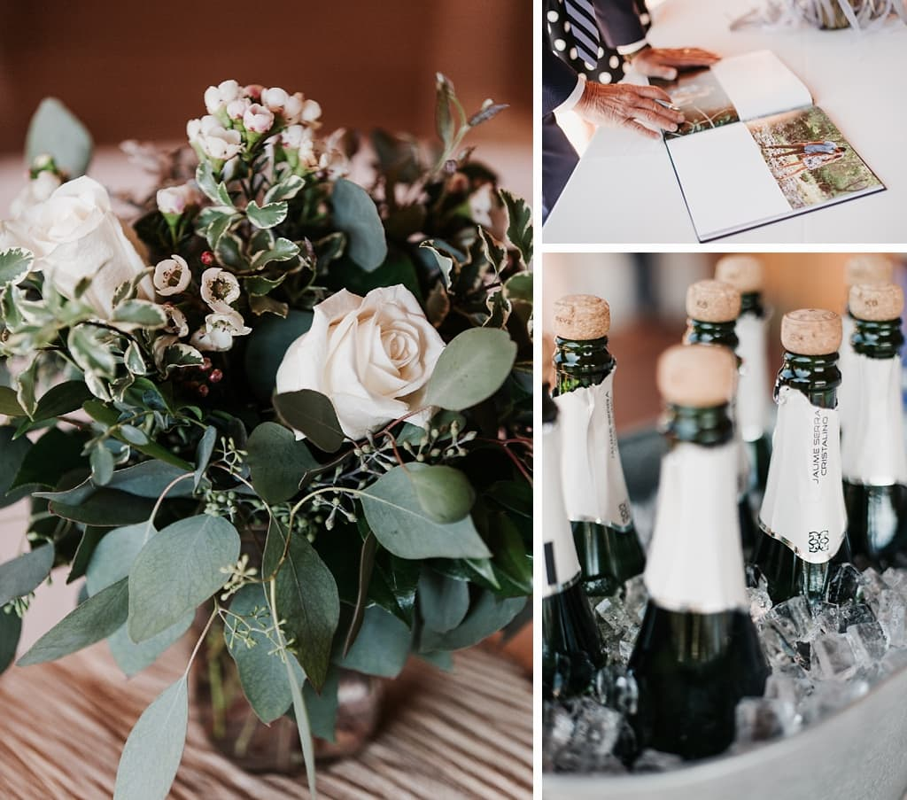 Evergreen Lake House Brunch Wedding Colorado bridal bouquet guest book with engagement photos champagne mimosa station