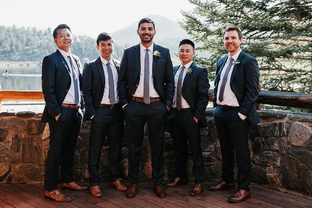 Evergreen Lake House Brunch Wedding Colorado groom and groomsmen group photo