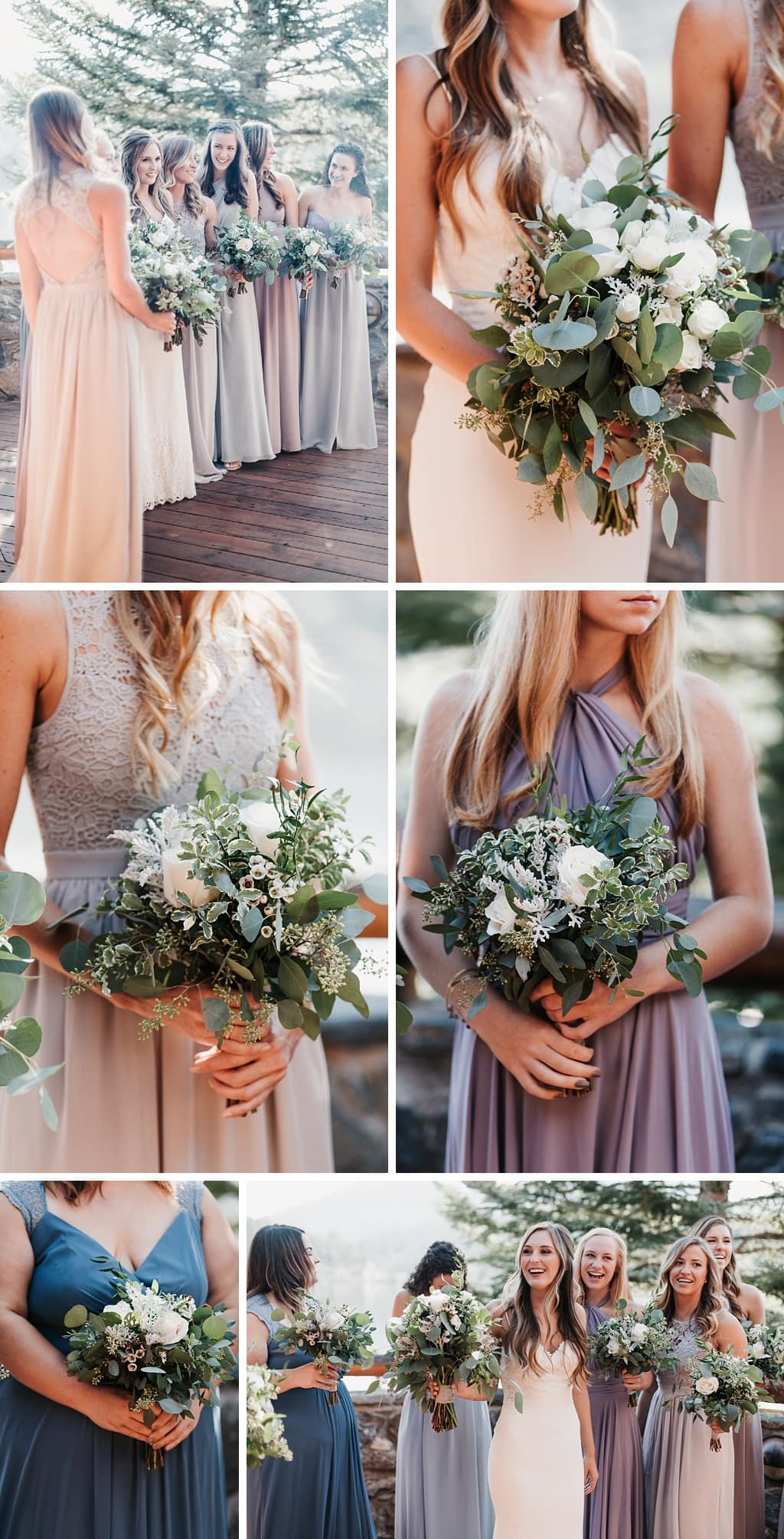 Evergreen Lake House Brunch Wedding Colorado bride with bridesmaids photography green and white bouquets, neutral color dresses