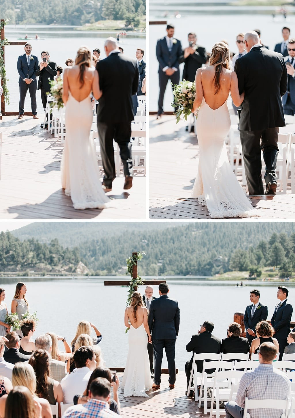 Evergreen Lake House Brunch Wedding Colorado bride walking down the aisle to groom outdoor mountain lakeside ceremony