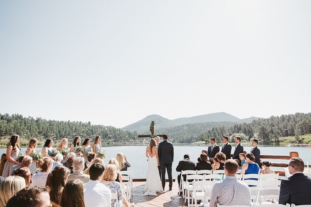 Evergreen Lake House Brunch Wedding Colorado outdoor mountain view lakeside ceremony cross