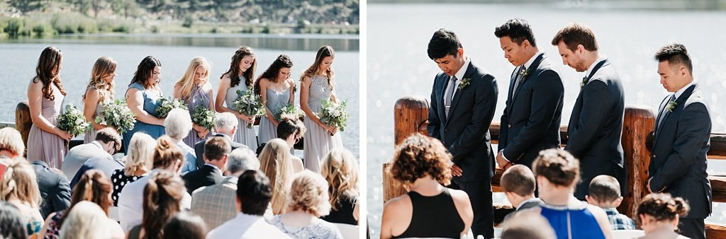 Evergreen Lake House Brunch Wedding Colorado outdoor ceremony bridesmaids and groomsmen praying