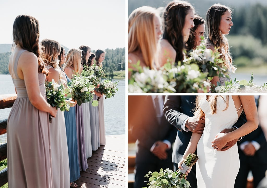 Evergreen Lake House Brunch Wedding Colorado bridesmaids during wedding ceremony, bride and groom holding hands