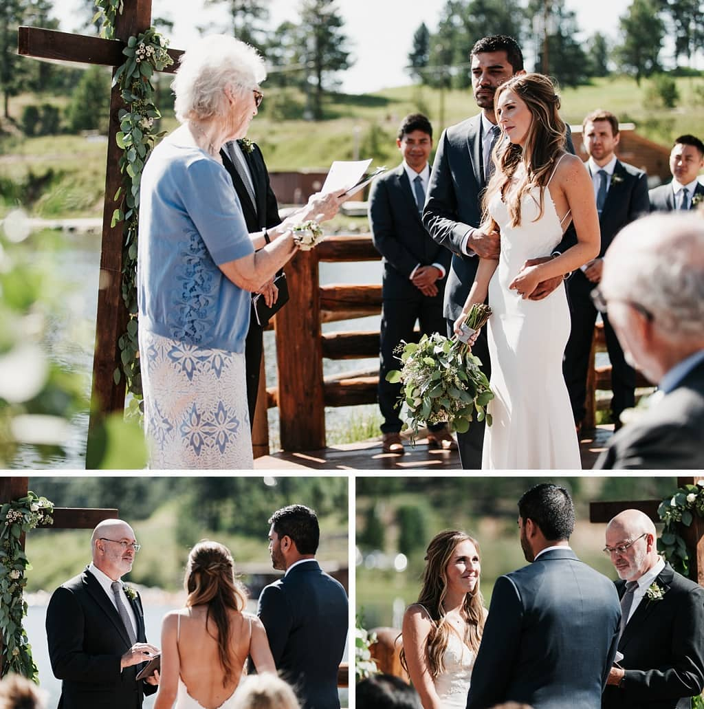 Evergreen Lake House Brunch Wedding Colorado outdoor ceremony grandmother reading