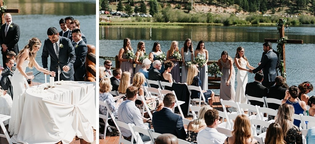 Evergreen Lake House Brunch Wedding Colorado Unity sand ceremony