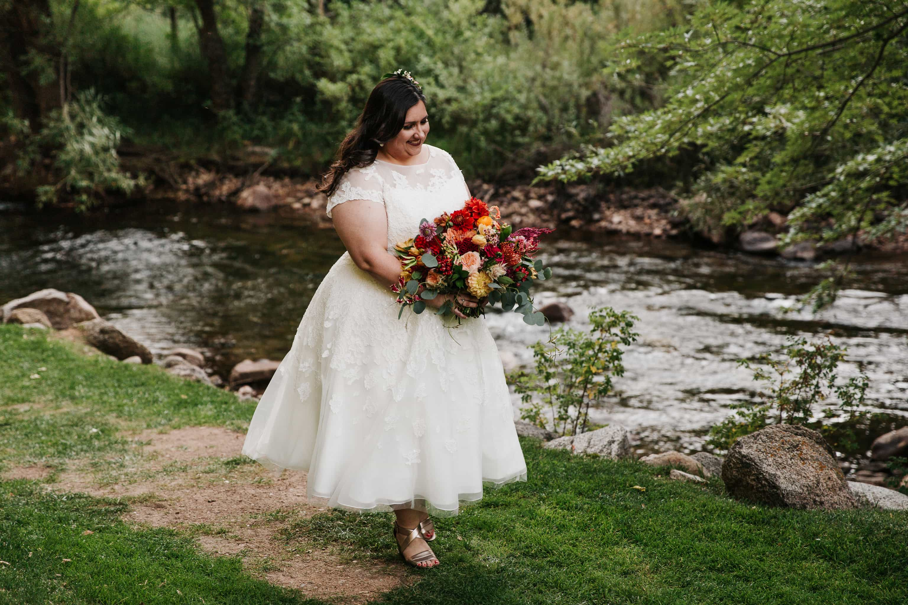Wedgewood on Boulder Creek first look bride portrait wedding photography