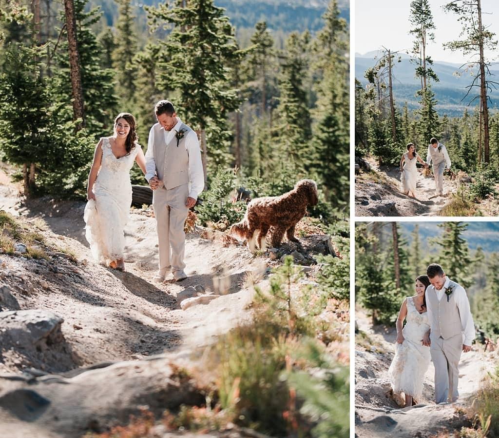 Sunspot Lodge Winter Park Resort Wedding bride and groom walking through woods
