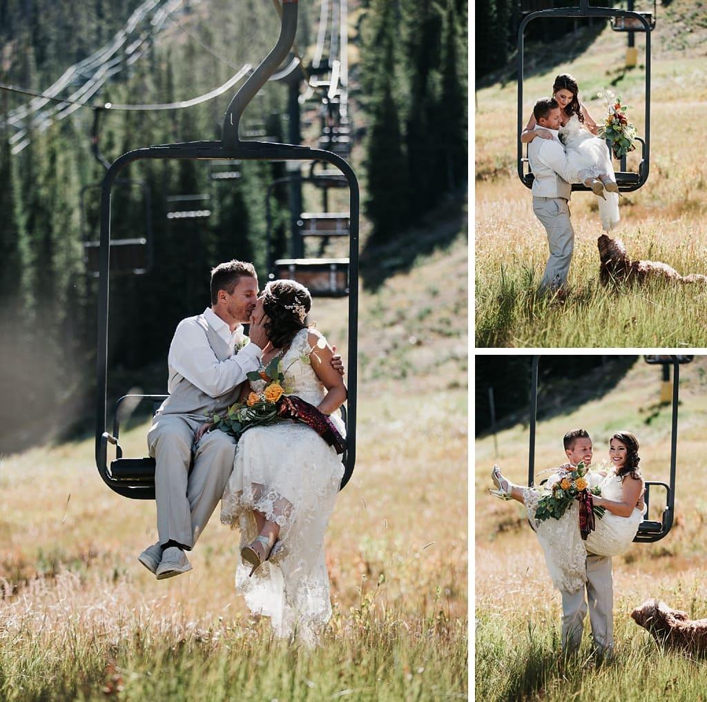 Sunspot Lodge Winter Park Resort Wedding ski lift bride and groom portraits
