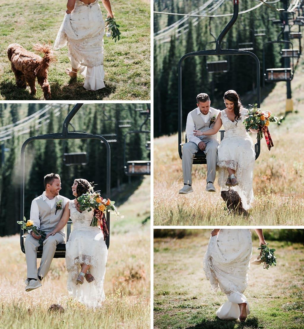 Sunspot Lodge Winter Park Resort Wedding bride and groom on ski lift bride walking barefoot