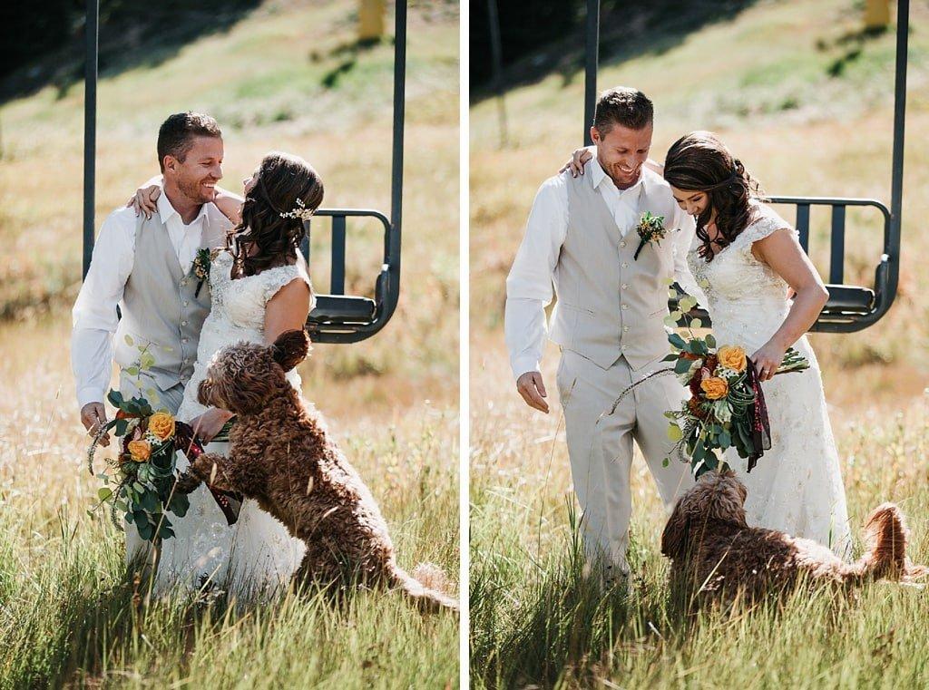 Sunspot Lodge Winter Park Resort Wedding bride and groom with dog on ski lift