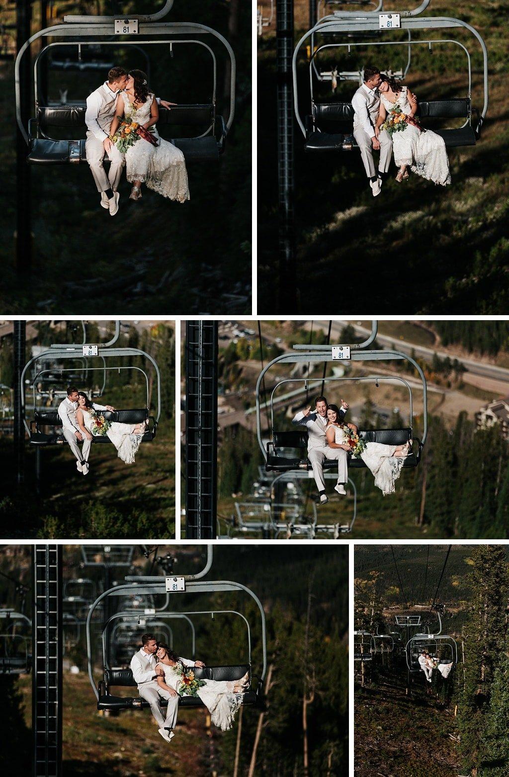 Sunspot Lodge Winter Park Resort Wedding bride and groom riding ski lift