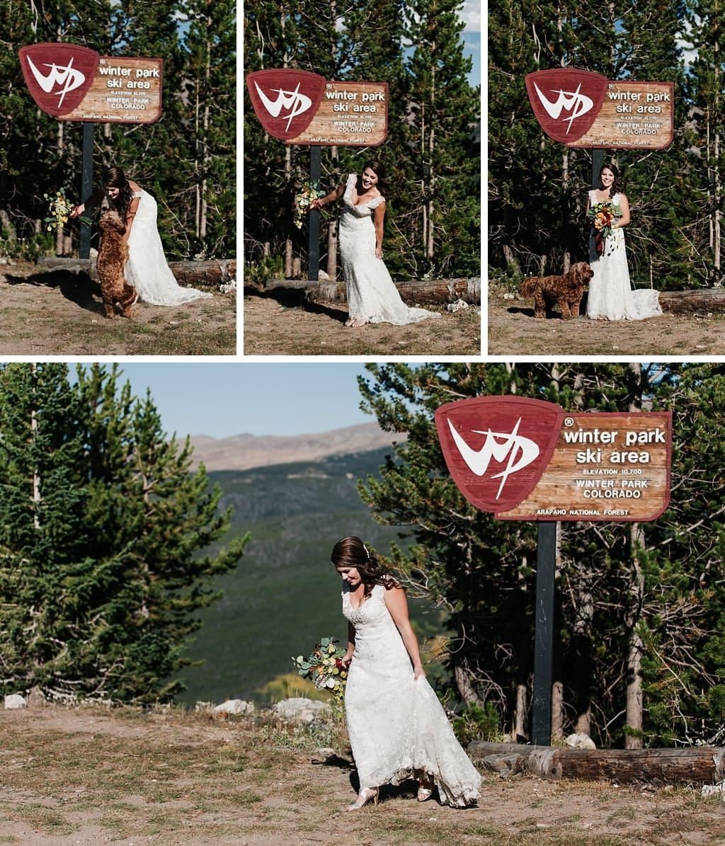 Sunspot Lodge Winter Park Resort Wedding bride with dog