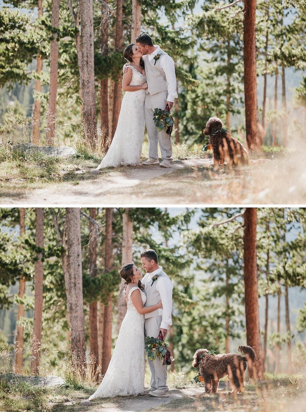 Sunspot Lodge Winter Park Resort Wedding bride and groom portraits with dog