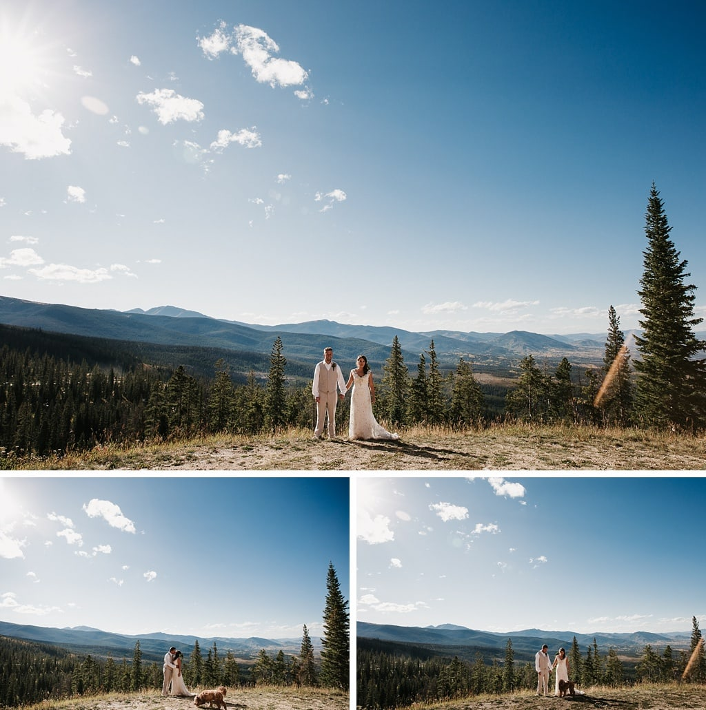 Sunspot Lodge Winter Park Resort Wedding bride and groom portraits with epic mountain views