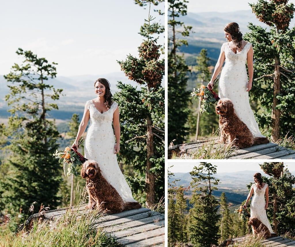 Sunspot Lodge Winter Park Resort Wedding bride portraits with dog